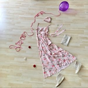 Band of Gypsies pink floral wrap maxi dress Medium